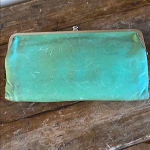 "HOBO Green Leather Classic Clutch 8"" x 4.5"""
